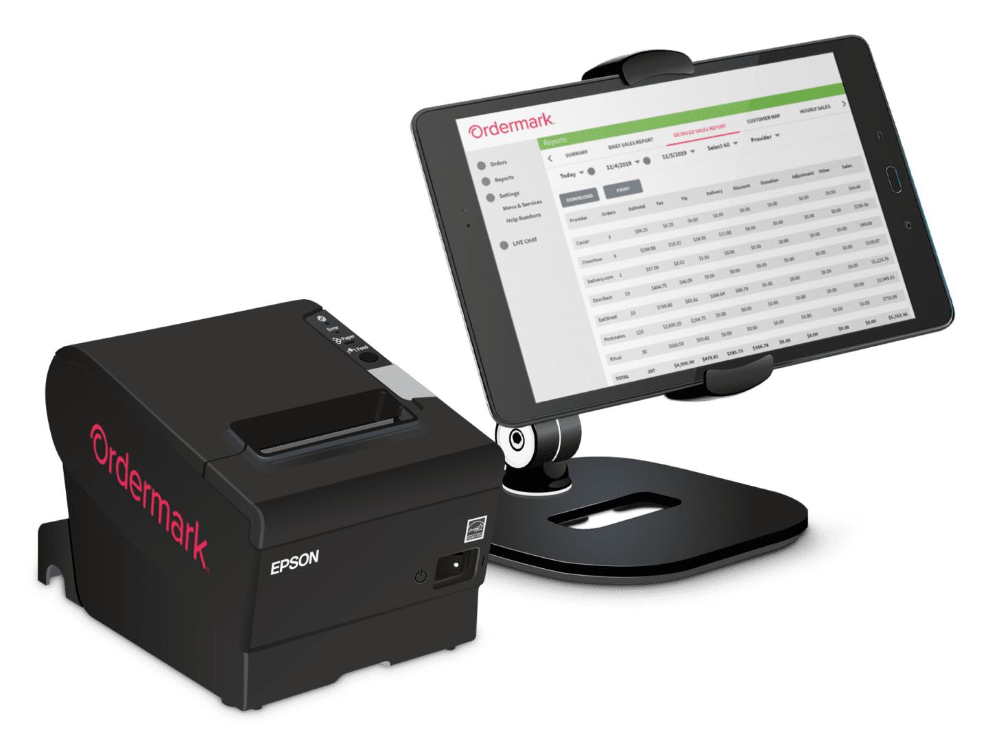 Ordermark printer and tablet at an angle on transparent background.